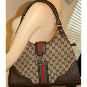 Gucci Monogram Shoulder Purse With Green/Red